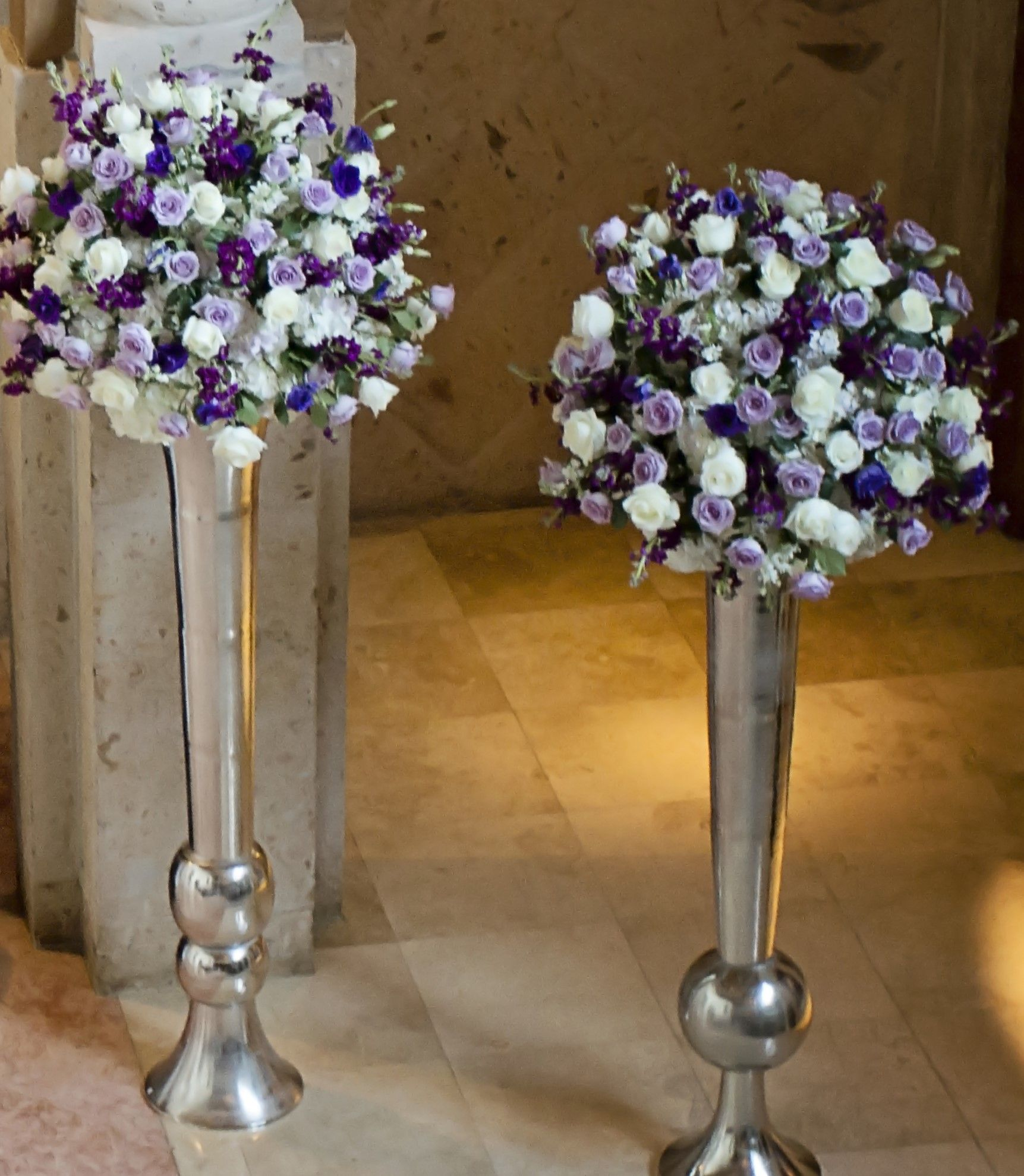 Wedding Ceremony Our Tall Silver Urns With Floral Of White