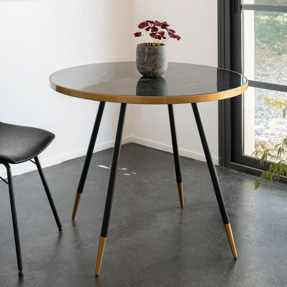 table de repas ronde effet marbre noir