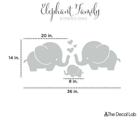Cute Elephant Hearts Family Wall Decals Baby Nursery by DecalLab