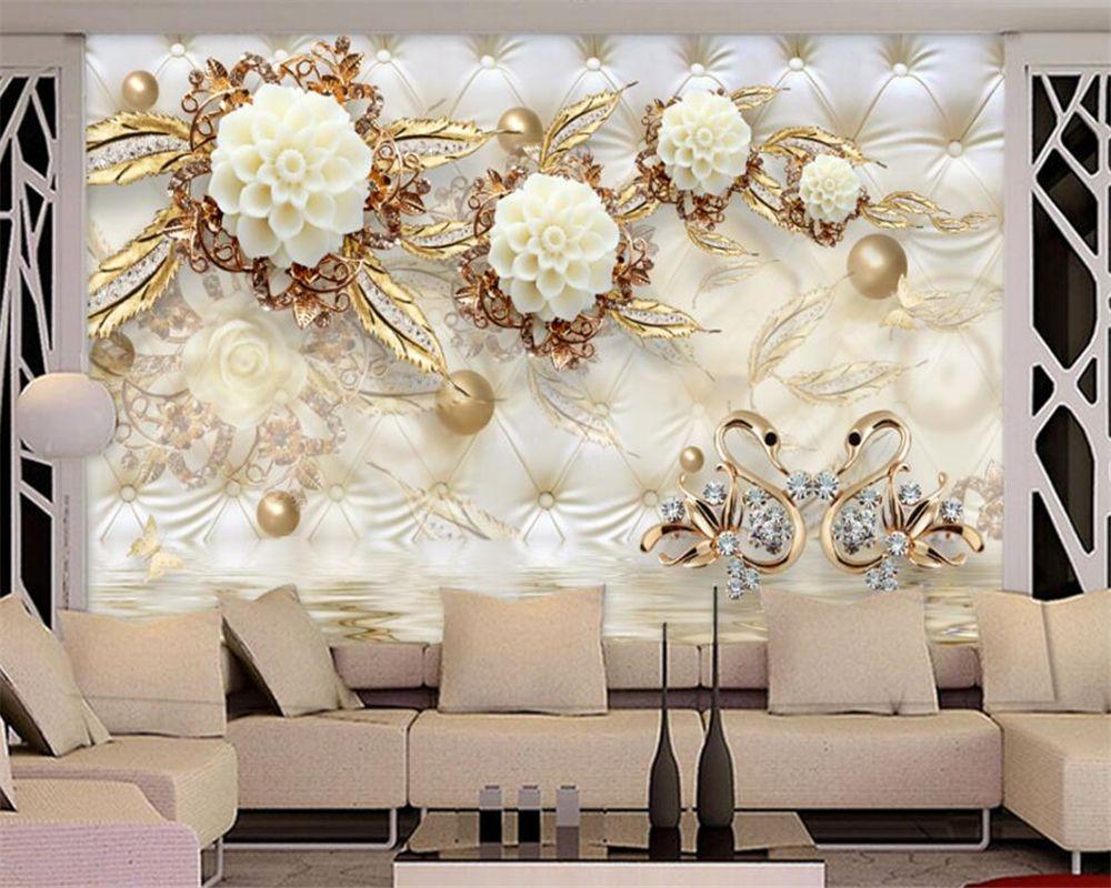 Beibehang Personalizado Papel De Parede De Luxo Do Ouro 3d Flores  -> Mural Parede Sala
