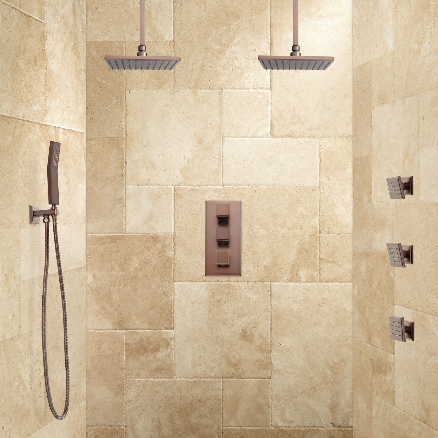 Ryle Dual Rainfall Shower System with Hand Shower & Body Sprays ...