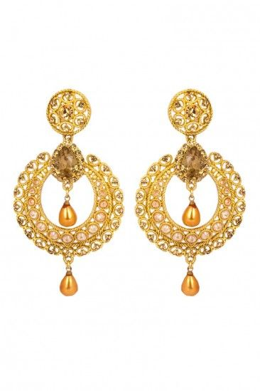 Gold Plated Brown Stone Studded Earrings Online For Women 80736