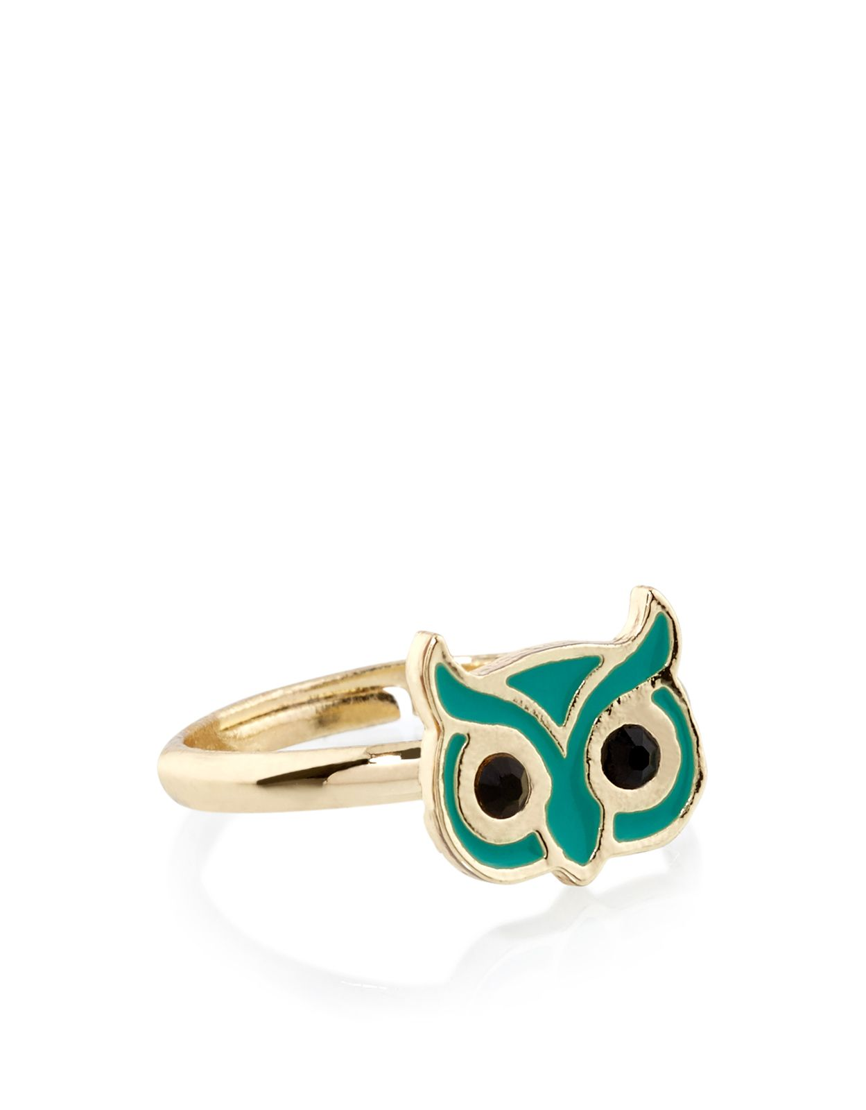 Hoot hoot This gold tone metal ring is designed with an enamel owl