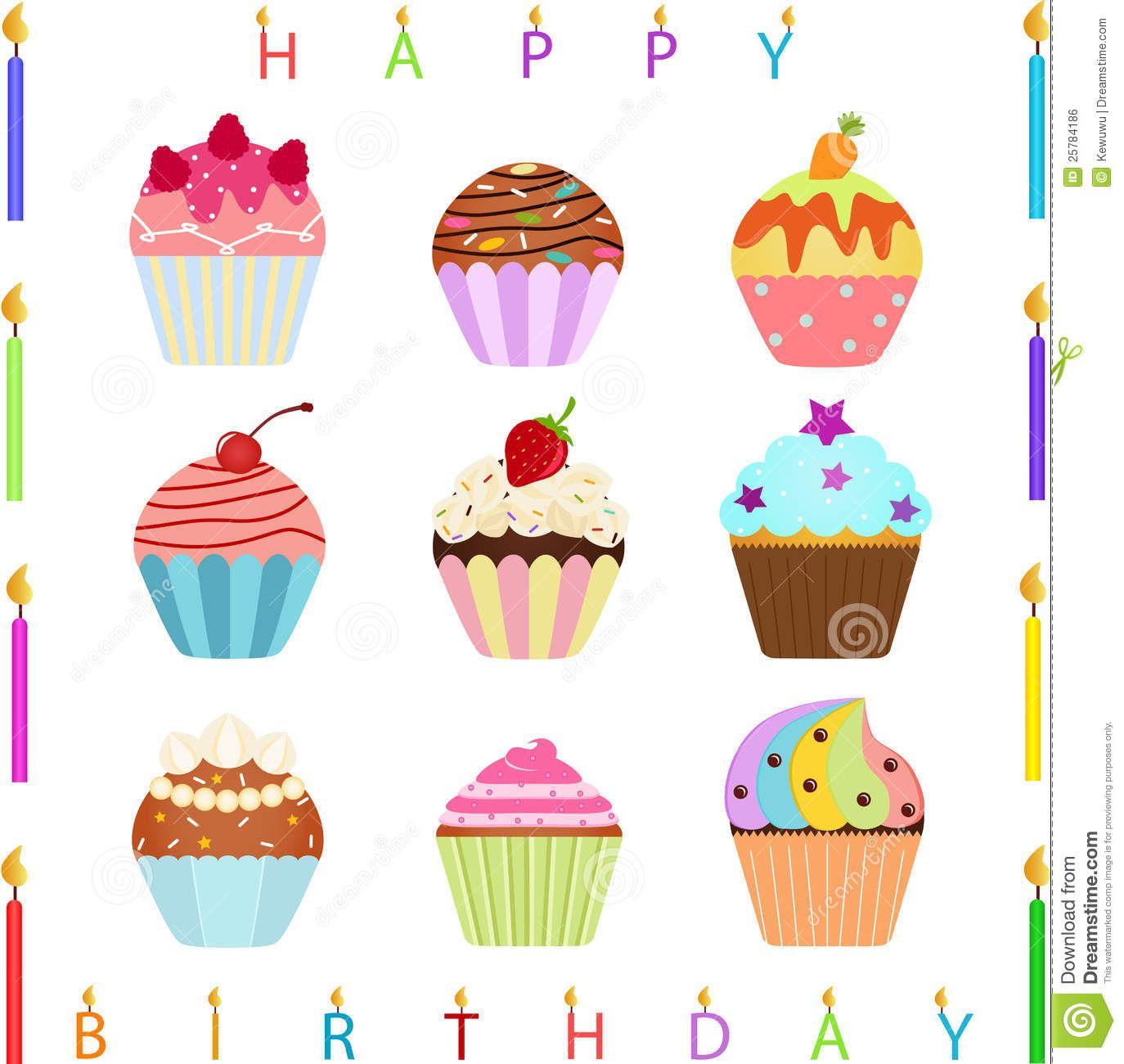 Cute Cupcake With Happy Birthday Candles We Love Birthdays
