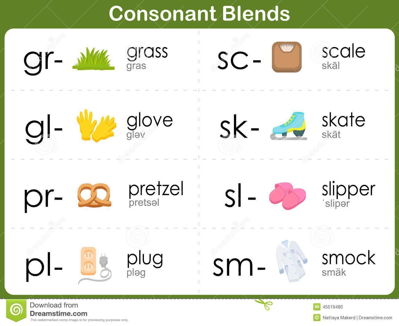 Consonant Blends Worksheet For Kids Stock Vector