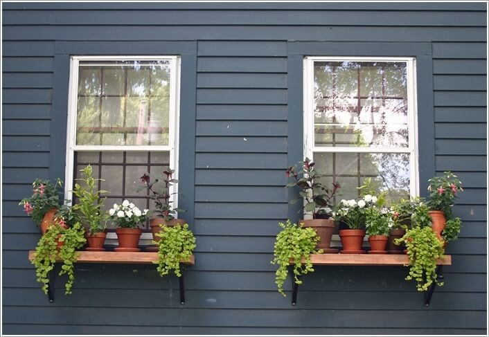 Shelves to be constructed under windows for cat entrance and egress and  potted plants | Outdoor shelves, Window plants, Window planters