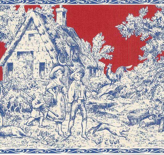Red Amp Blue French Country Toile Wallpaper Wall Border