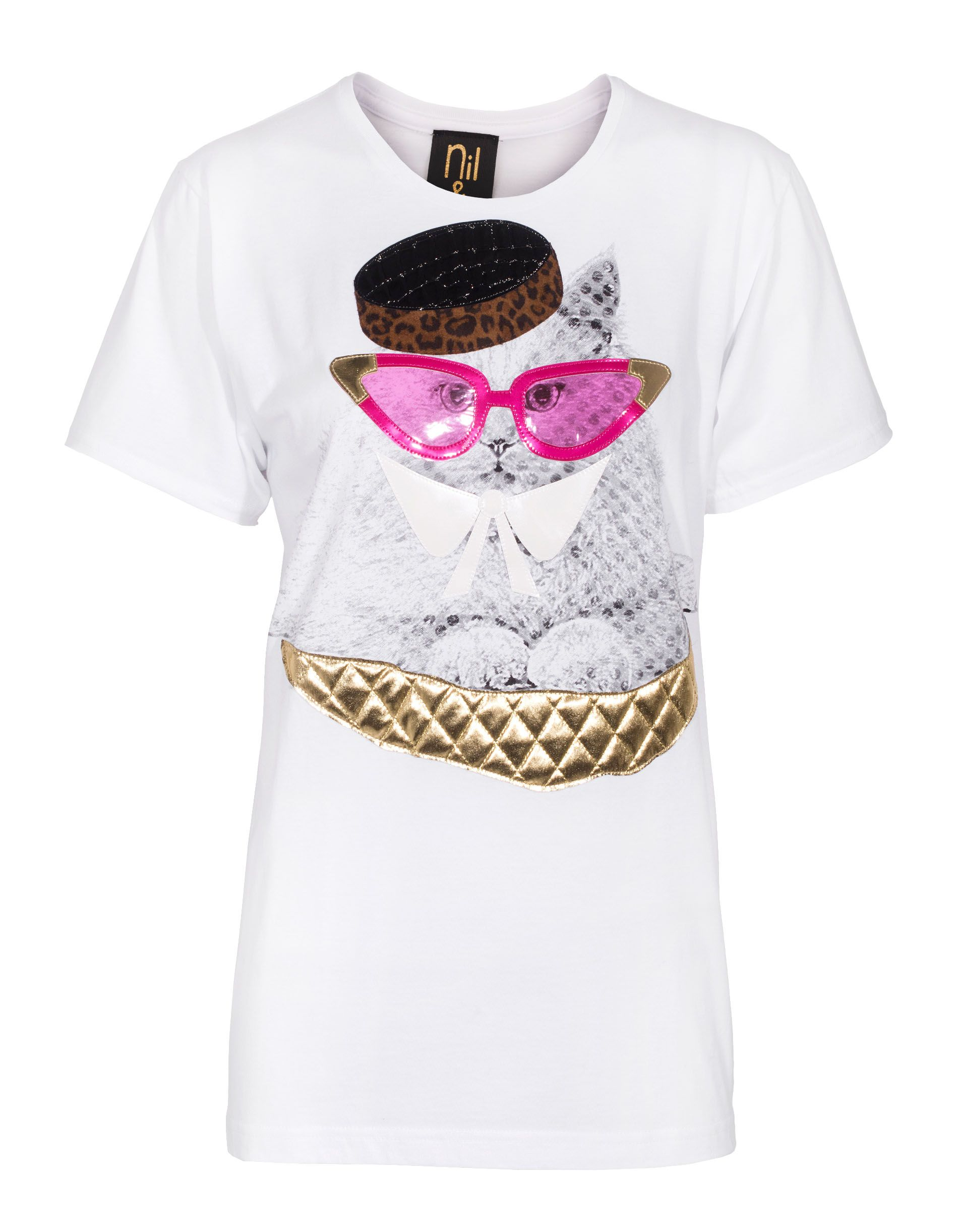 Nil&Mon Miau Miau White Oversize T-shirt with decoration - T-Shirts & Tanks