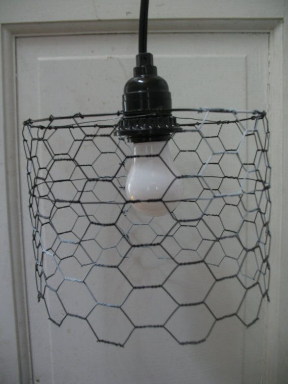 Positive Negative Short Chicken Wire Lamp By Crudeoil On Etsy 30 00 With Images Modern Fence Small Lamp Shades Lamp