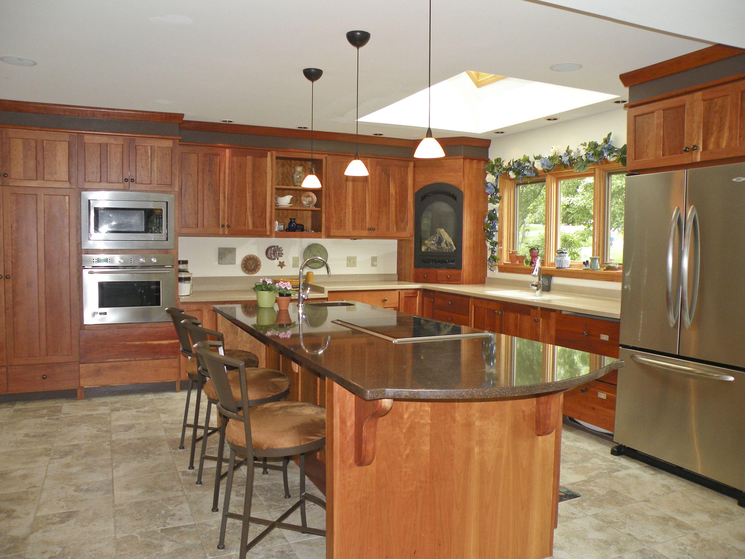 Gourmet Kitchen With 9 Center Island Kitchen Remodel Kitchen Cherry Cabinets Kitchen