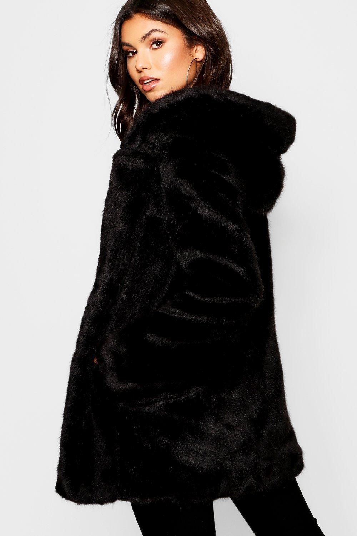 Luxe Hooded Faux Fur Coat Boohoo In 2020 Faux Fur Hooded Coat Black Faux Fur Coat Hooded Faux