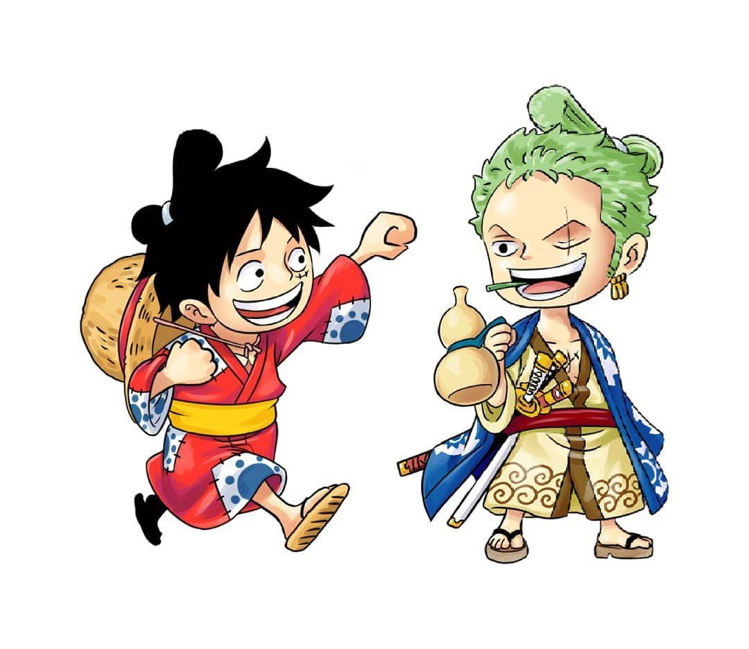 Monkey D Luffy Luffytaro Roronoa Zoro Zorojuro Straw Hat Pirates Mugiwaras Wano One Piece Anime Monkey D Luffy Zoro Luffy