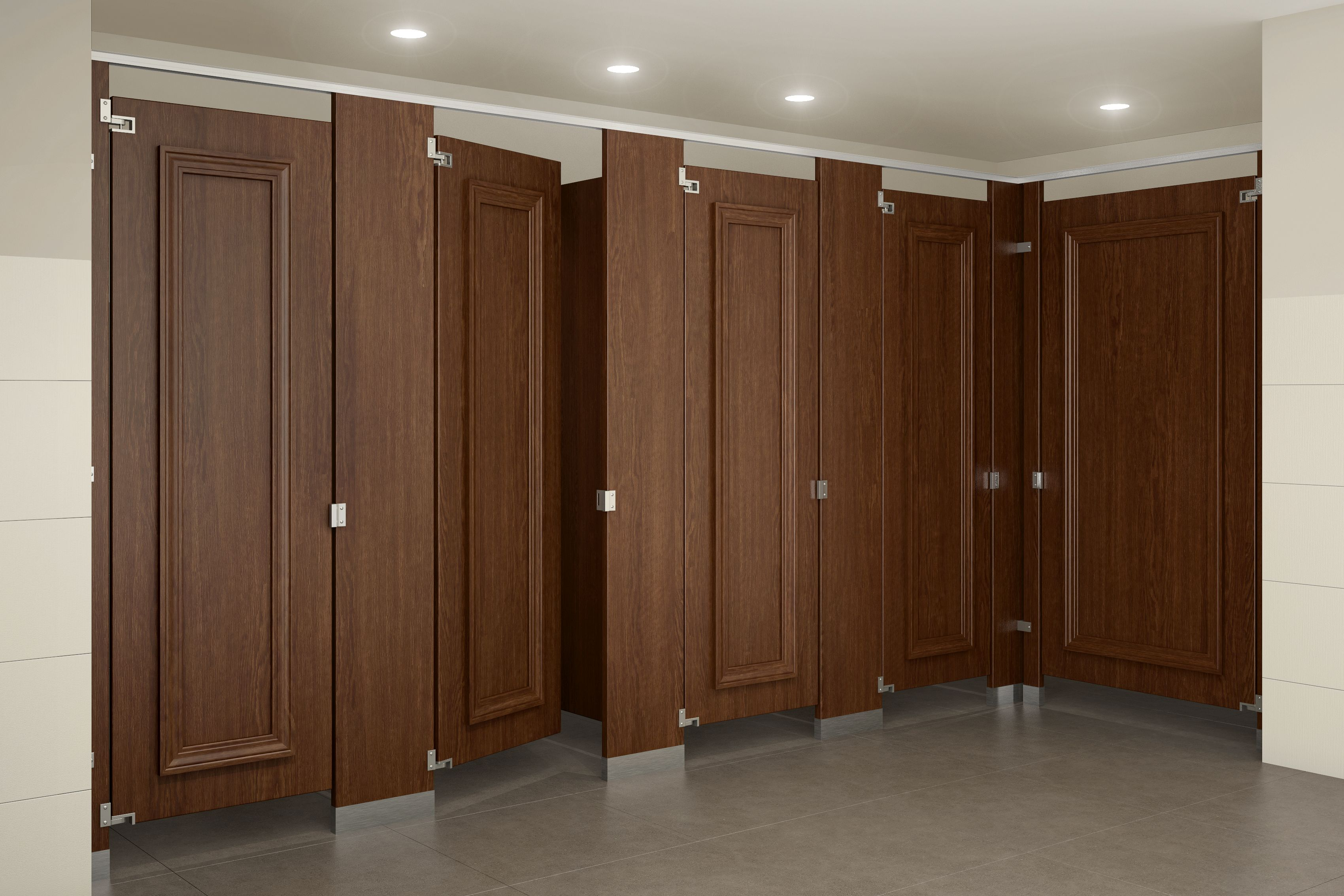 Ironwood Manufacturing wood veneer toilet partitions and doors with ...