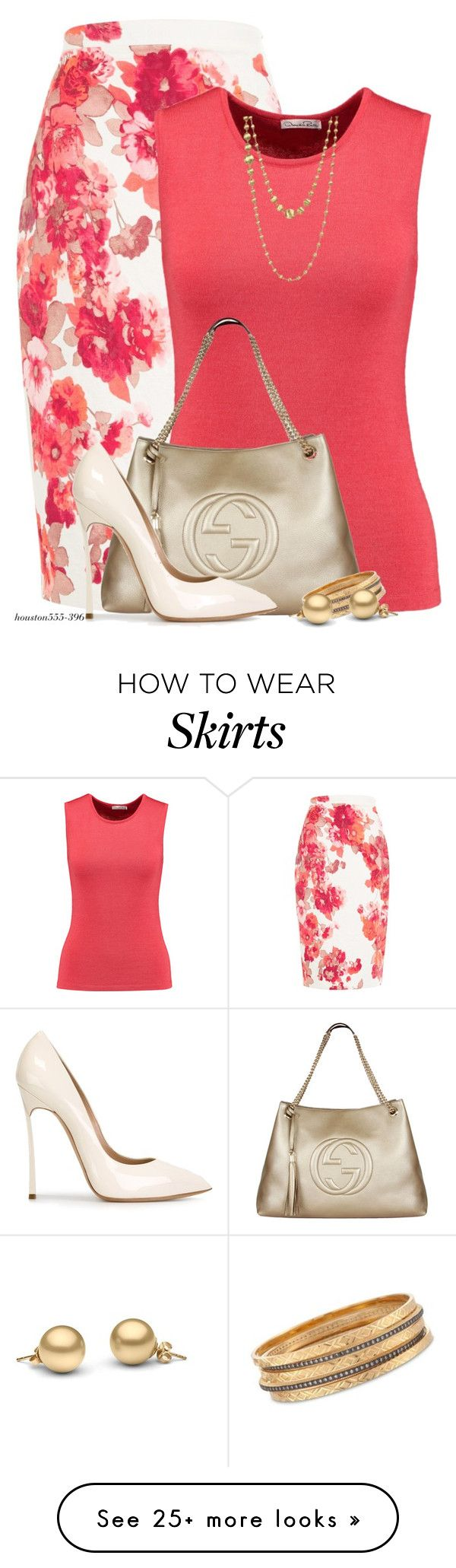 """""""Floral Pencil Skirt"""" by houston555-396 on Polyvore featuring Damsel in a Dress, Oscar de la Renta, Gucci, Casadei, Ross-Simons and Marco Bicego"""