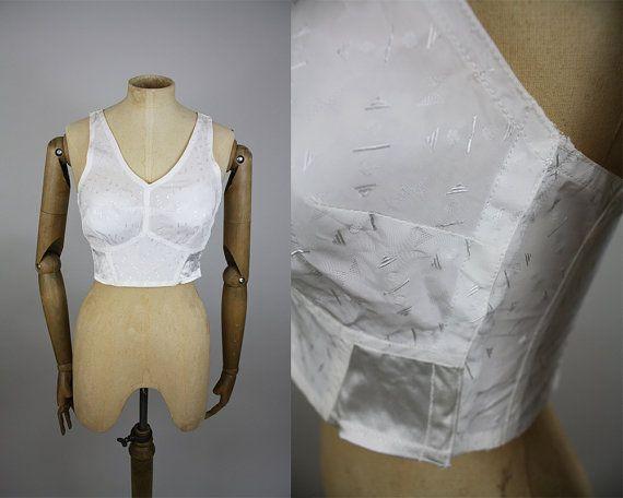 1950s White Bra / 50s Nylon Bra / Long Line Bra / Size 30B / Size 32B / Embroidered Nylon / Satin Elastic