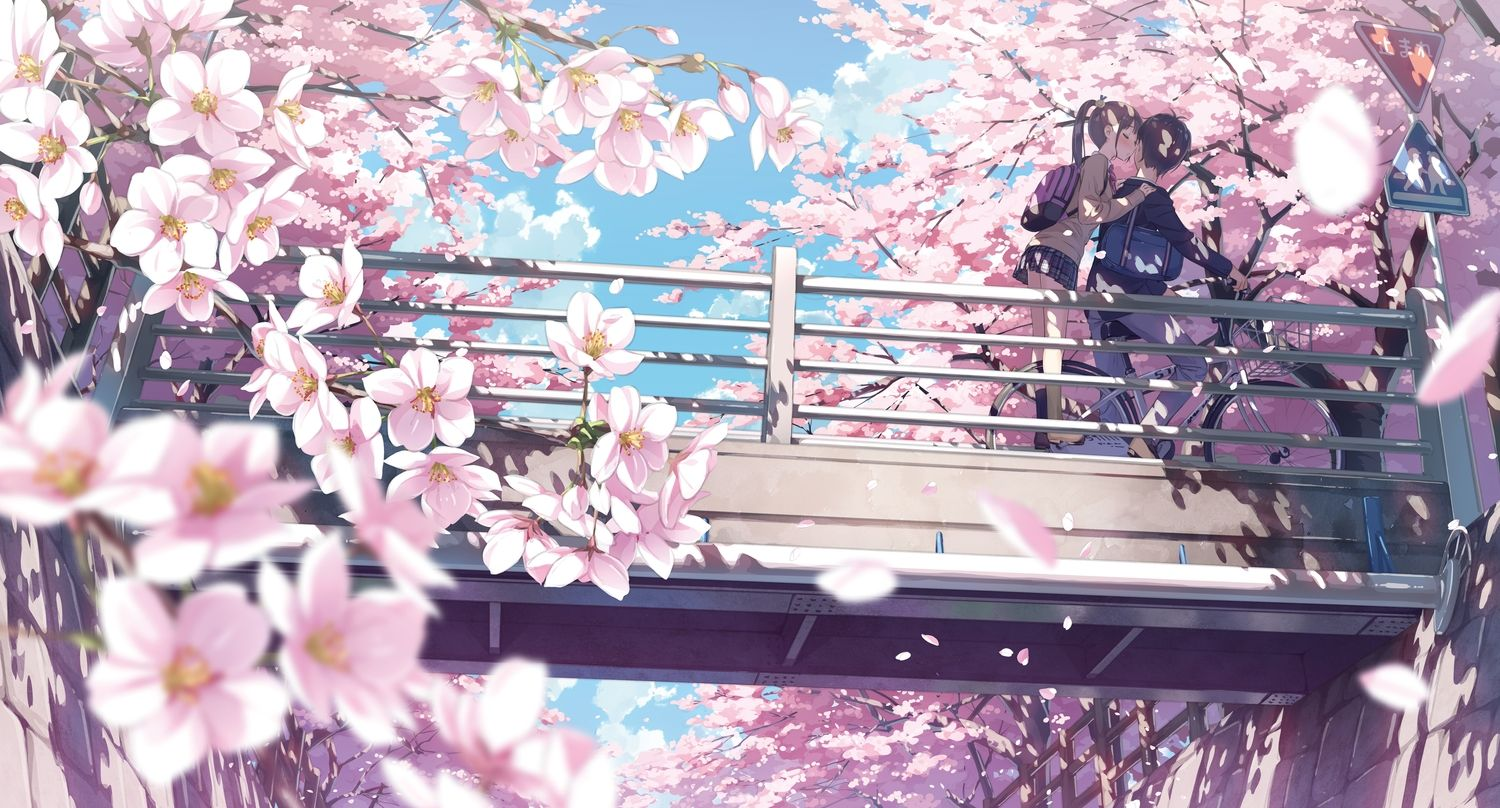 Anime Wallpaper 4436x2389 5 Nenme No Houkago Bicycle Brown Hair Cherry Blossoms Clouds Flowers Kantoku K Kirschblute Wallpaper Kirschbluten Anime Tapete
