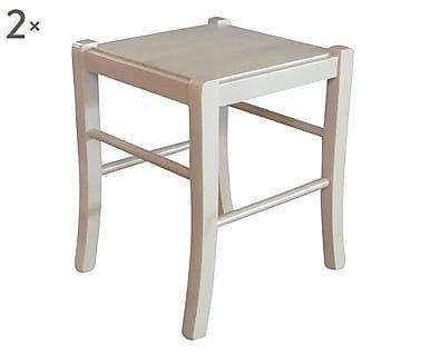 Set di 2 sgabelli in legno grezzo lucido daria 42x47x37 cm