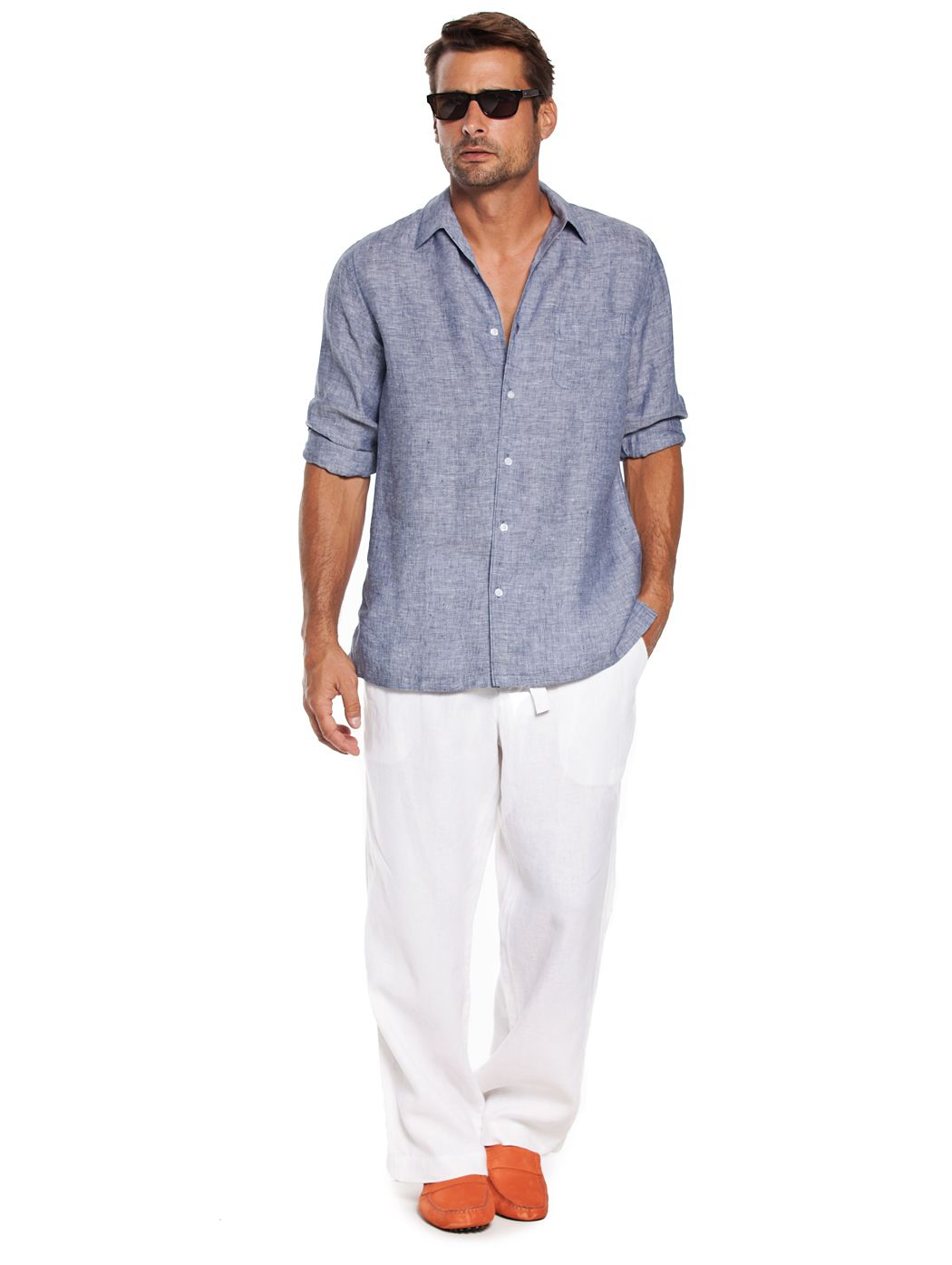 dc97fe05ac0b Mens White Linen Beach Pants