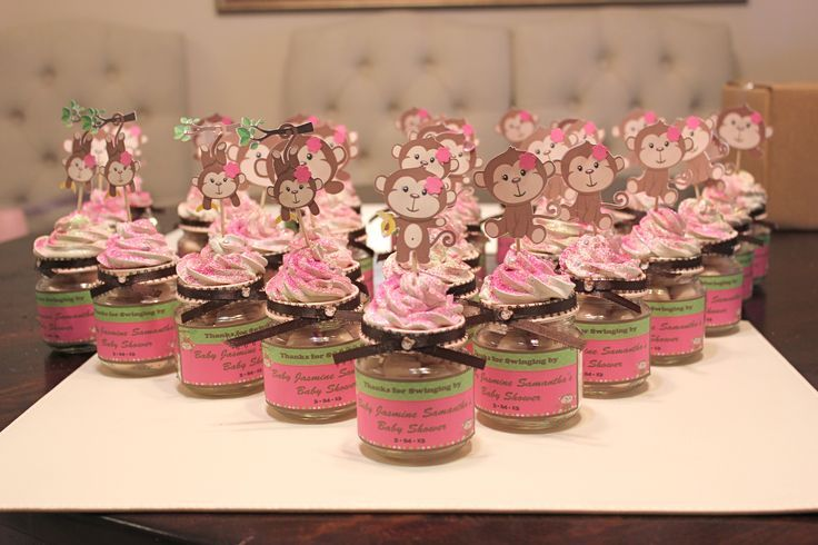 Baby shower gifts for guests 24 - Baby shower monkey decorations for a girl ...