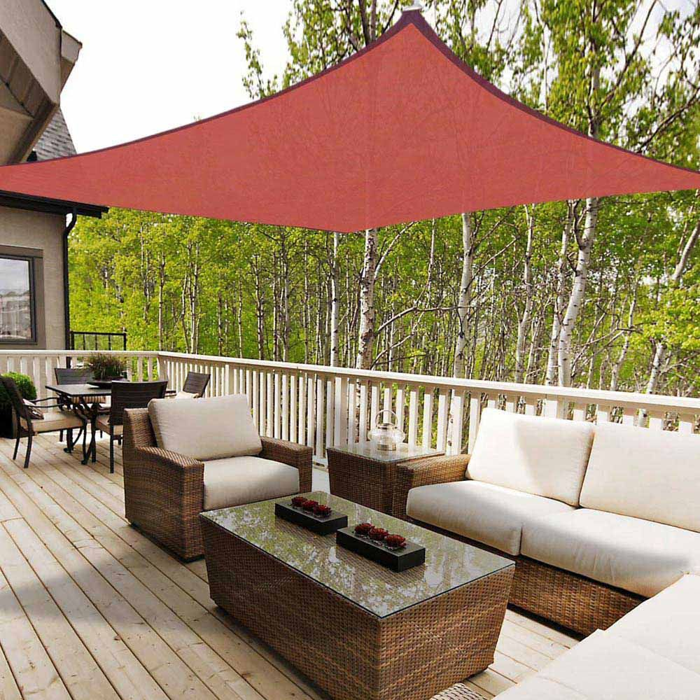 Sun Shade Sail Outdoor Canopy Top Cover Uv Block Triangle Square Rectangle Red Ebay In 2020 Sun Sail Shade Shade Sail Garden Canopy
