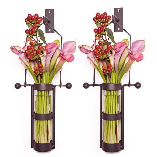 Wall Mount Metal Cradle Glass Vase Set-GoGetGlam