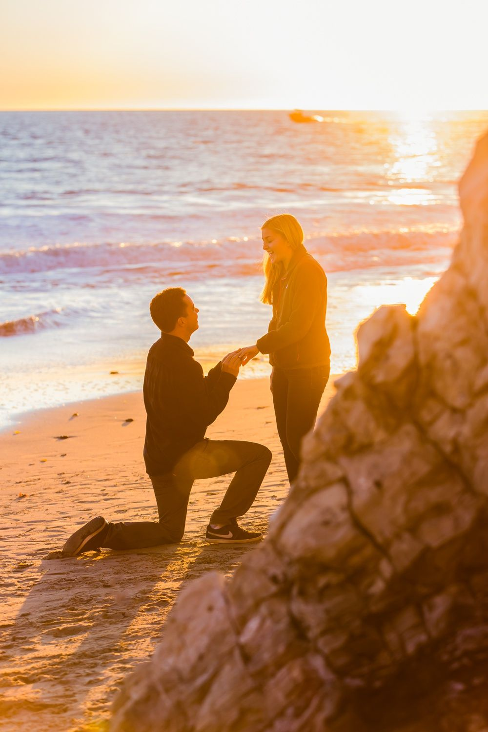 how dreamy is this surprise sunset beach proposal?! | jessica