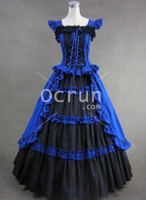 Gothic Viktorianischen Royal Kleid Und Elegant Blau Schwarz Ybf7gv6y