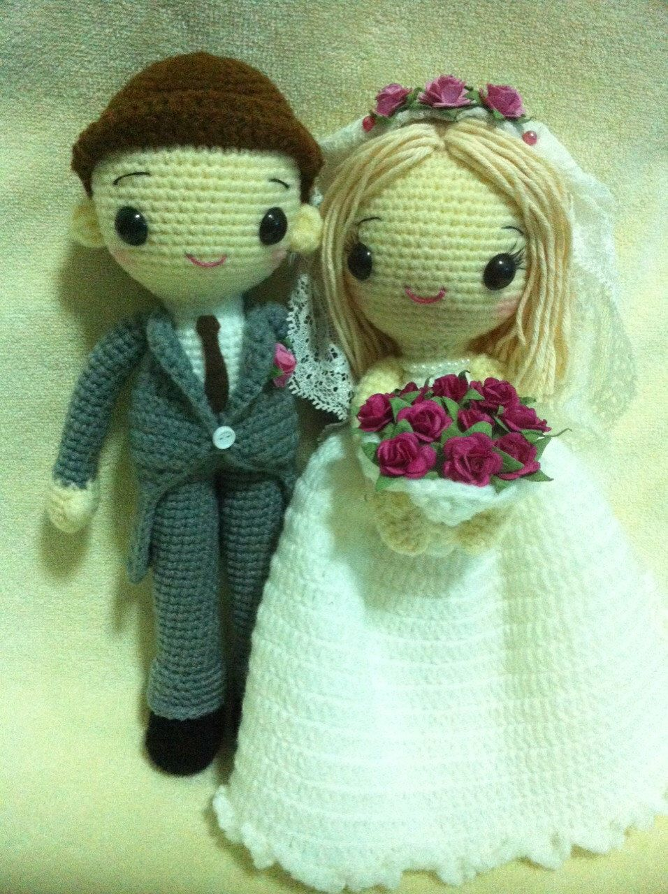 Sweety Couple Amigurumi Bride & Groom Crochet Doll - MADE TO ORDER by Handmade2557 on Etsy https://www.etsy.com/listing/234438205/sweety-couple-amigurumi-bride-groom