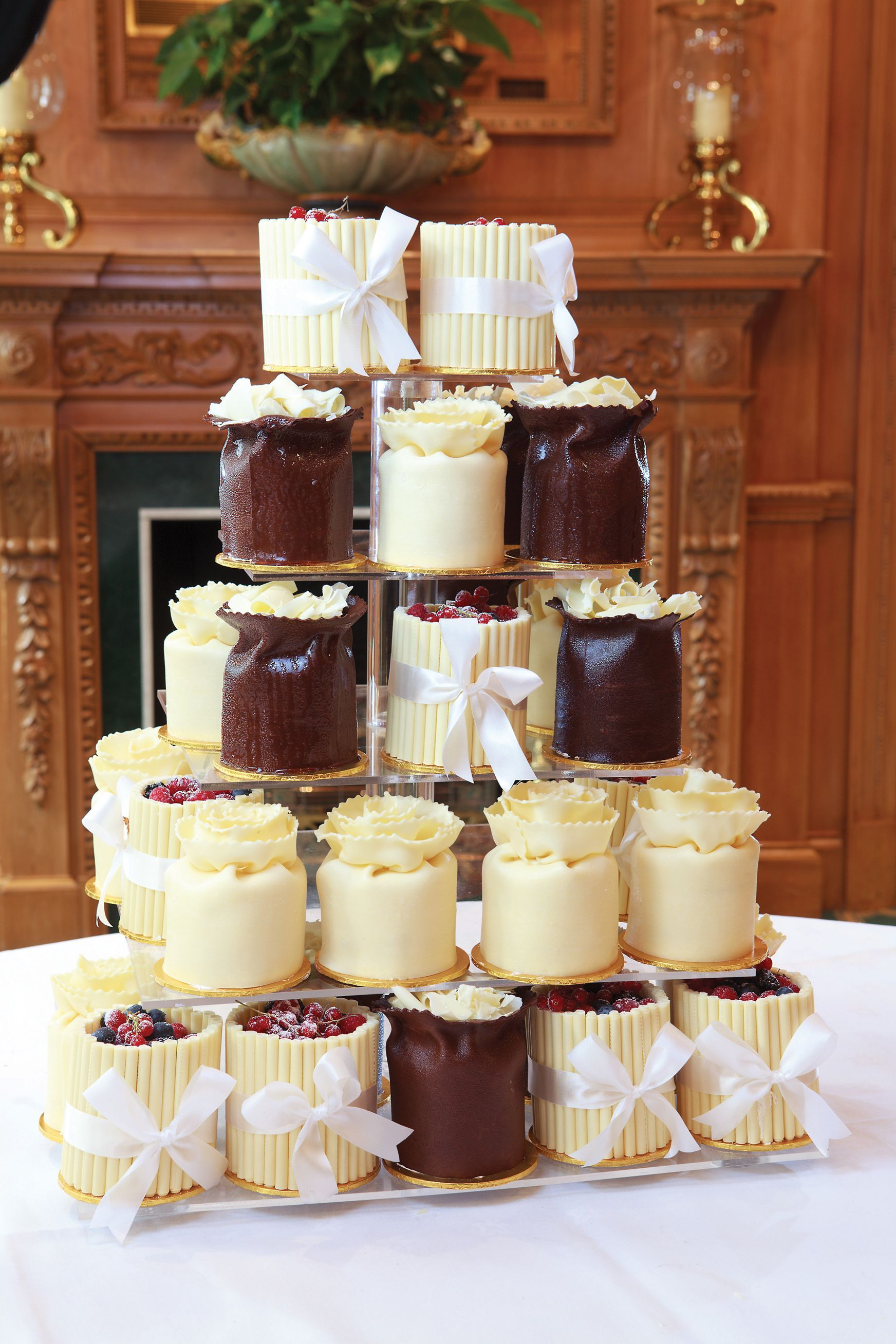 The ultimate cupcake style wedding cake. A selection of Patisserie Valerie  signature chocolate gateaux from