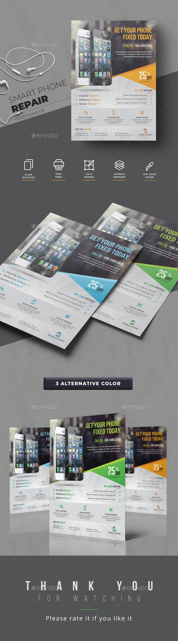 smartphone repair service flyer template psd quick and easy to