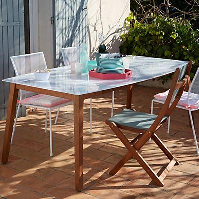Gardena Table de jardin en eucalyptus et verre | Agrément de ...