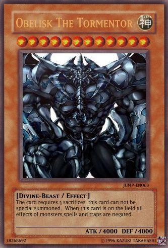 Yugioh Card Maker Yugioh Cards Obelisk The Tormentor Cards