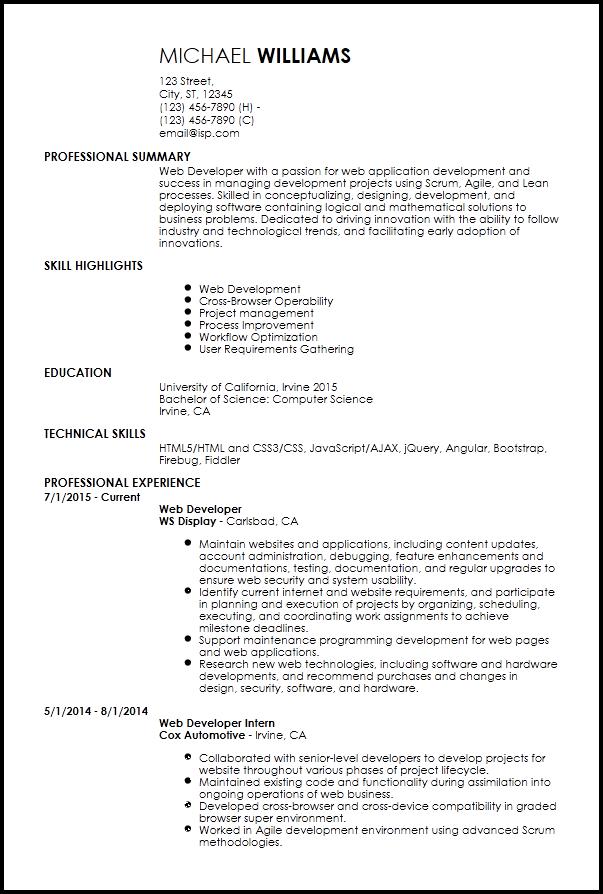 Junior Web Developer Resume Web Developer Resume Job Resume Template Chronological Resume