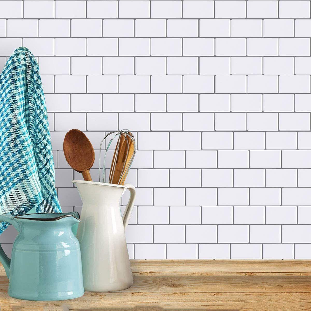 Hyfanstr Peel And Stick Wall Tiles Backsplash For Kitchen Self Adhesive Stick On Tiles Splashback 3d Subway Tile Splashback Tile Backsplash Splashback Tiles
