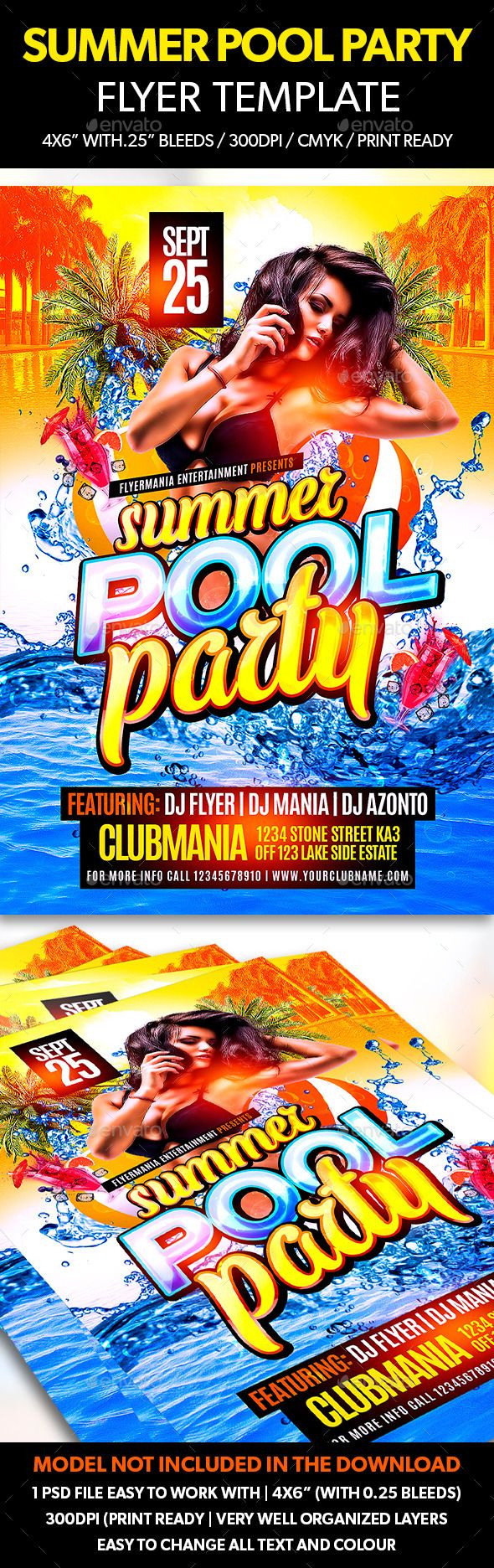 Summer Pool Party Flyer Template  Summer Pool Party Flyer And
