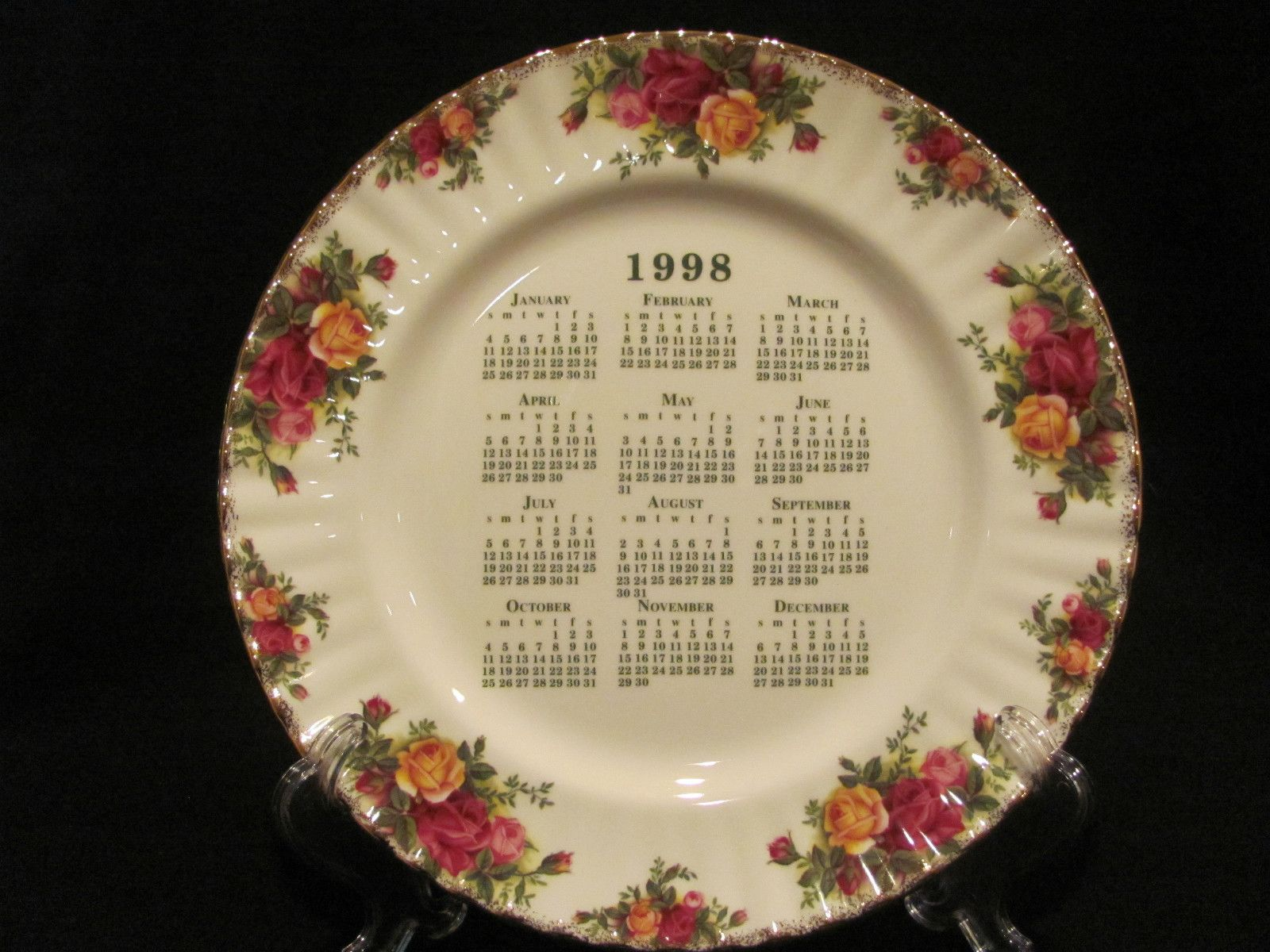 Royal Albert Old Country Roses 1998 Calendar Plate Country