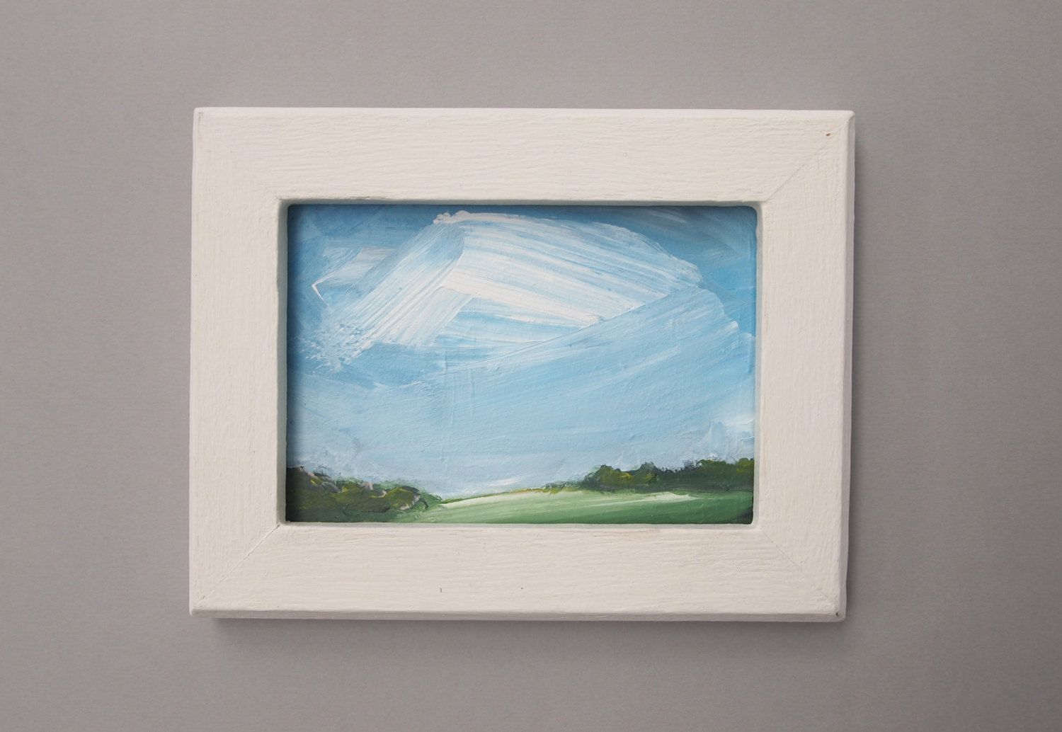 Small landscape painting acrylic art canvas board blue for Small canvas boards
