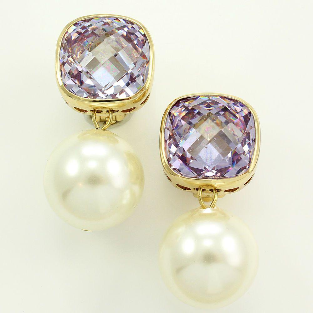 Vintage joan boyce goldtone lavender crystal imitation pearl drop