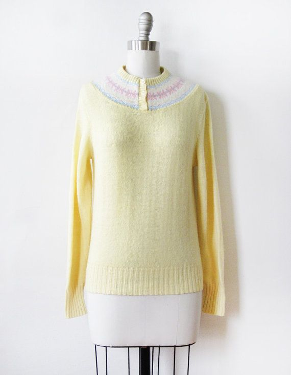 yellow knit sweater 70s nordic sweater 1970s by RustBeltThreads