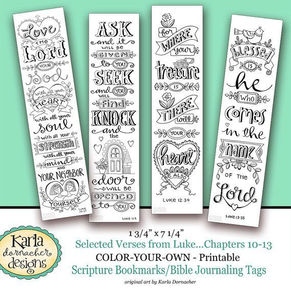 Luke 10 13 Color Your Own Bookmarks Bible Journaling Illustrated Faith INSTANT DOWNLOAD Scripture Digital Printable Christian Religious