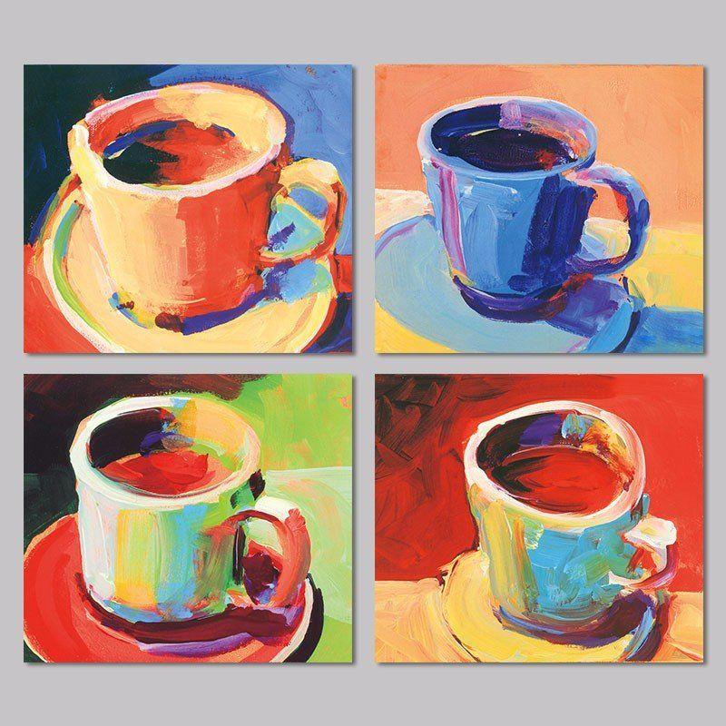 Modern 4pc colorful graffiti coffee tea cup canvas wall for Tea and coffee wall art