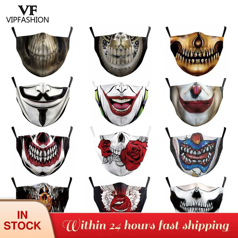 Adult Printed Funny Face Scarf Breathable Washable Mouth Protection Reusable Hot