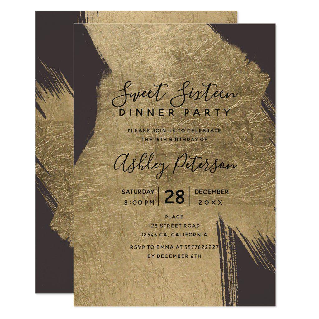 Gold Brushstrokes Typography Grey Sweet 16 Invitation Zazzle Com In 2020 Sweet 16 Invitations Sweet Sixteen Birthday Invitations Sweet Sixteen Birthday