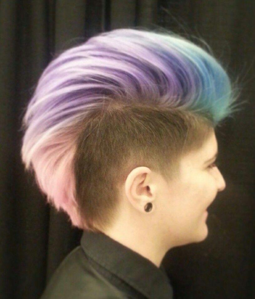 rainbow pastel mohawk dyed hair