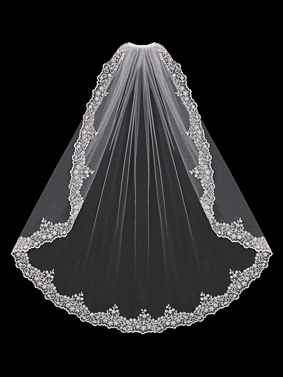 Bridal Veil of Silver Embroidered Lace with Beads and Rhinestones | Wedding  veils lace, Fingertip length wedding veil, Bridal veil