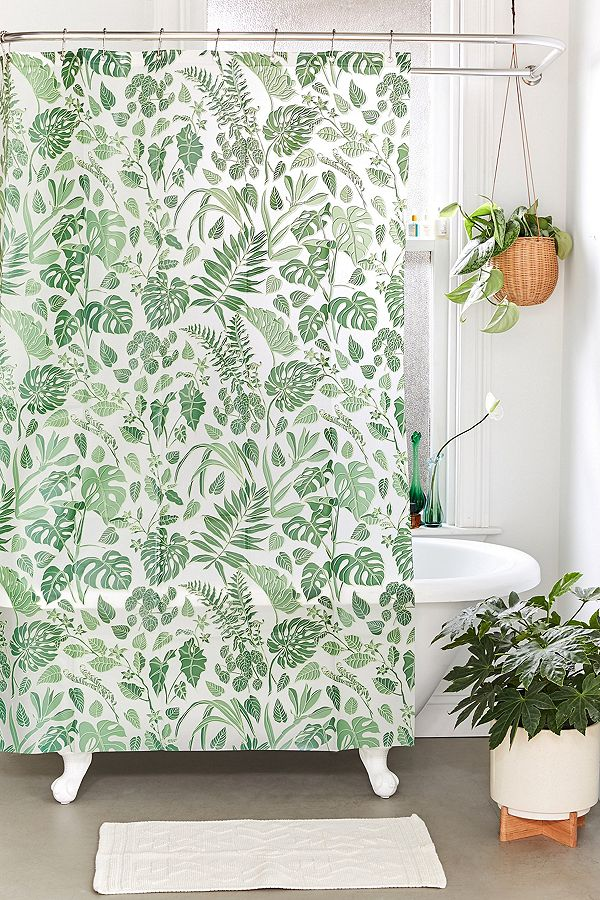 Jungle Leaf Shower Curtain In 2019 Floral Shower Curtains