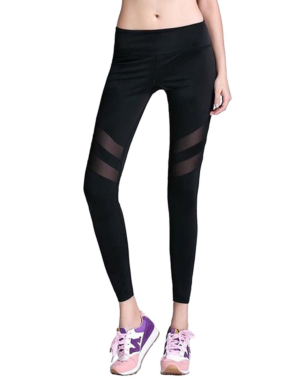 51efffc44fc Women's Mesh Leggings Yoga Pants Mid Waist Stretch Workout Active ...