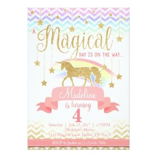 Magical Rainbow Unicorn Birthday Party Invitation 1st
