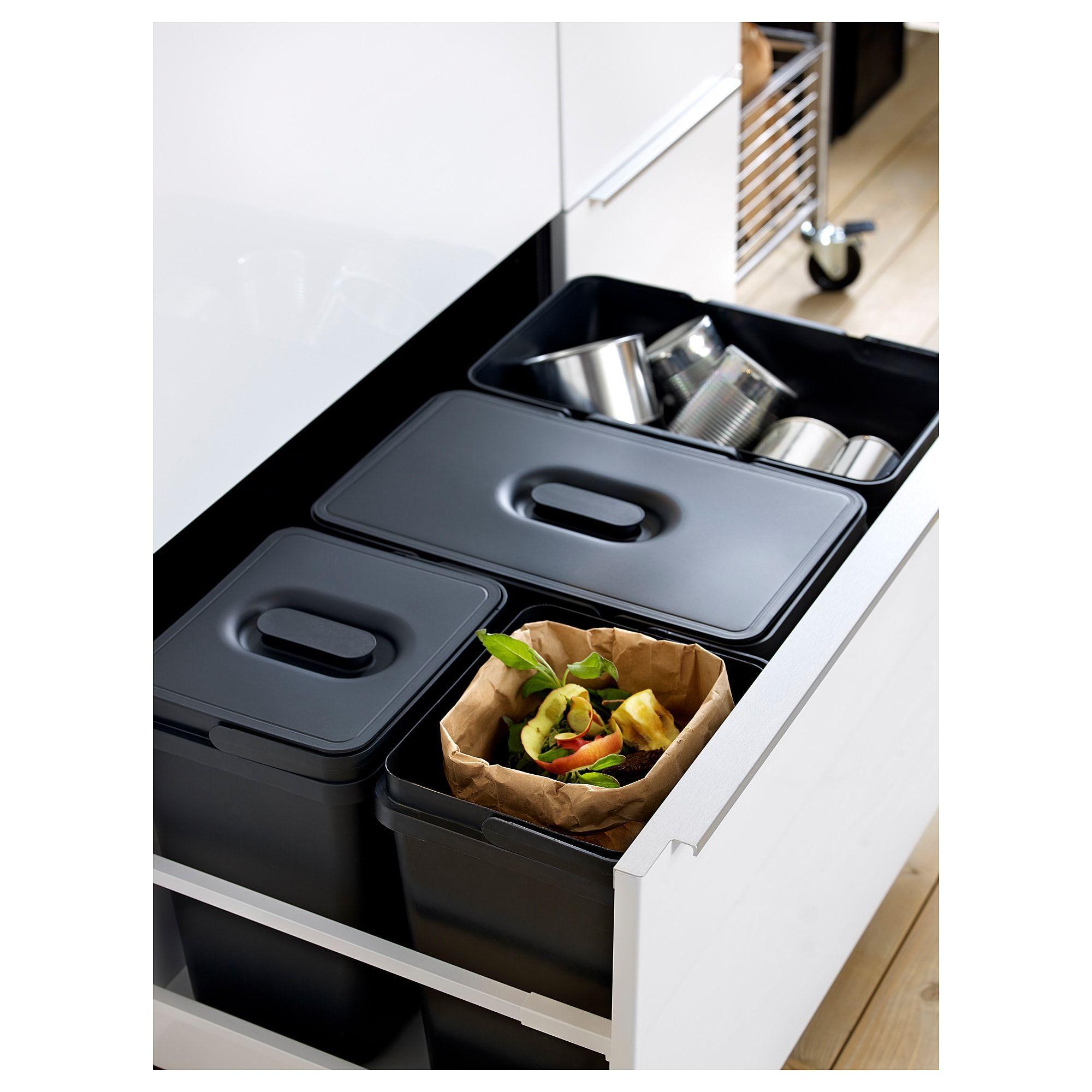 IKEA VARIERA Black Deckel für Papierkorb in 19  Abfalltrennung