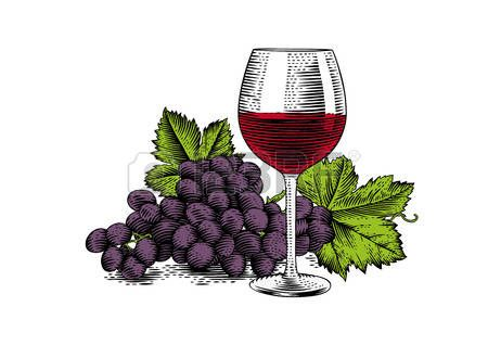 Dessin du verre de vin rouge avec grappe de raisin banque - Verre de vin dessin ...